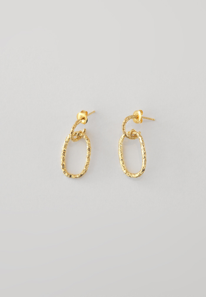 Raw Double Gold Earrings (Silver 925)